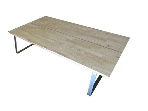Wohnzimmertisch flat edelstahl rubberwood 118x58cm iceborn for Wohnzimmertisch edelstahl